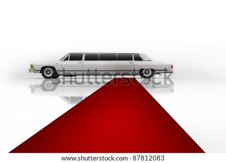 White limousine with a red carpet isolated on white background 3d illustration. high resolution - stock photo
