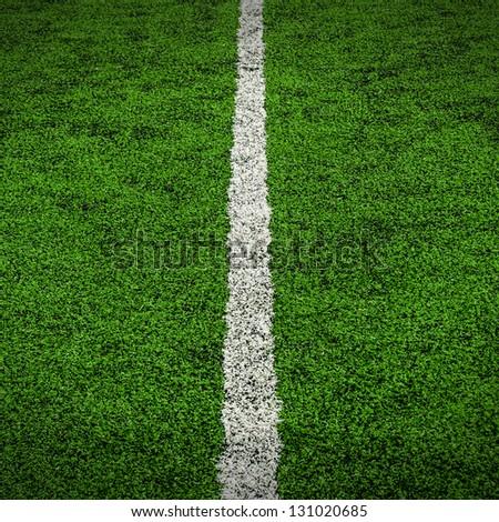 White Line on Soccer field Stadium. - stock photo