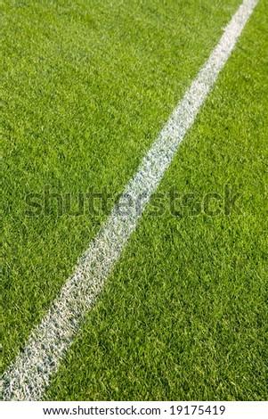 White line on the grass of sporting stadium - stock photo