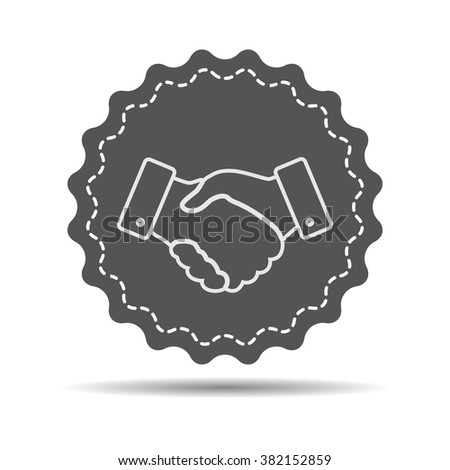 white linear Handshake icon. design for business and finance concept - stock photo