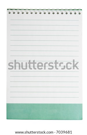 White lined notepad page with green space