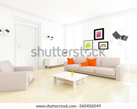 white living room. 3d illustration - stock photo