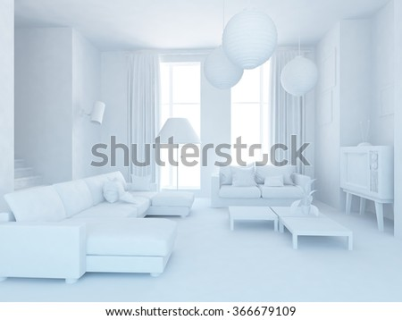 white living room interior.3d illustration - stock photo