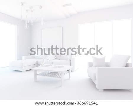 white living room interior. 3d illustration - stock photo