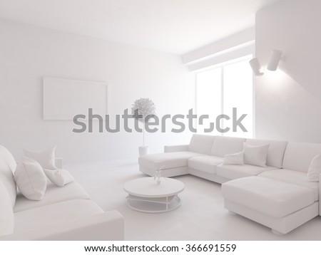 white living room interior. 3d illustration - stock photo