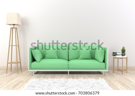 White Living Room Interior With Green Fabric Sofa, Lamp, Cabinet And Plants  On Empty Part 94