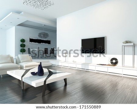 White living room interior with modern furniture - stock photo