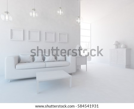 White living room interior with sofa and white landscape in window. Scandinavian interior design. 3D illustration