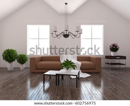 Modern Living Room Interior3d Design Concept Stock Illustration ...