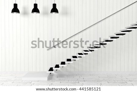 White living room interior with staircase and ceiling lamps in modern and minimal style, 3D rendering - stock photo