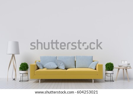 White Living Room Interior With Yellow Fabric Sofa Lamp And Plants On Empty Wall
