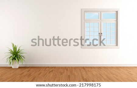 White living room with closed windows - rendering - stock photo