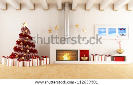 White living room with fireplace and christmas tree - the art image on wall is a my composition available in my portfolio - stock photo