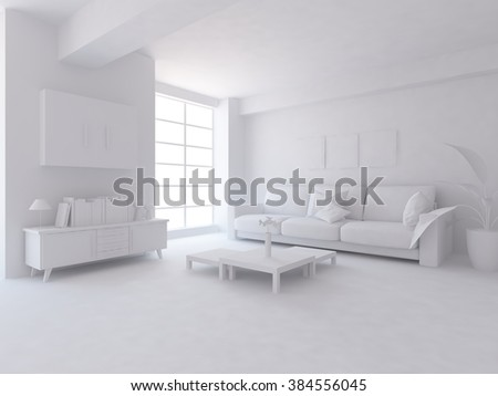 white living room with furniture. White interior.3d illustration
