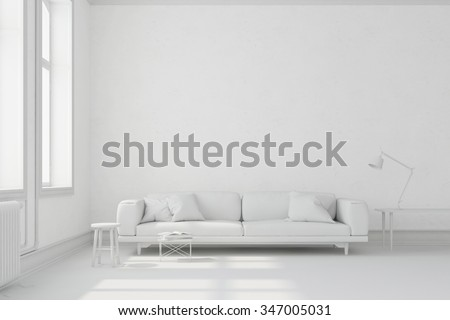 White living room with sofa and furniture (3D Rendering) - stock photo