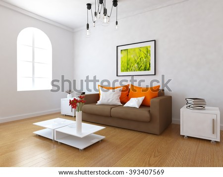 white living room with sofa.3d interior.3d illustration - stock photo