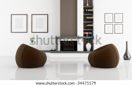 white living room with two fashion brown armchair - rendering - stock photo