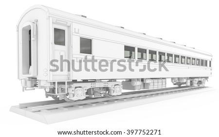 White locomotive isolated 3d rendering scene - stock photo
