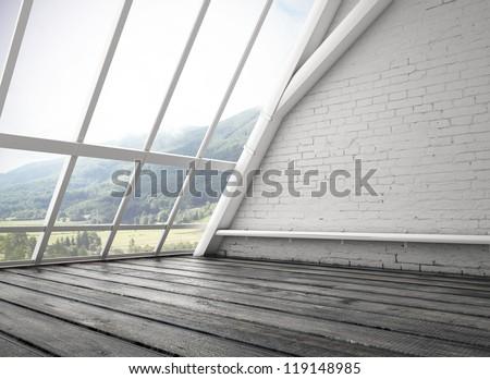 white loft and big window - stock photo