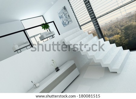 White loft interior with floor to ceiling window and stairs - stock photo