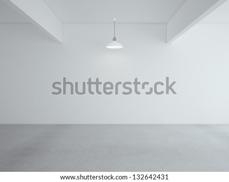 white loft room and lamp on ceiling - stock photo