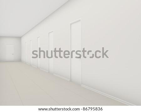 White long corridor with doors - stock photo
