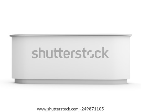white long desk or counter from front view. render