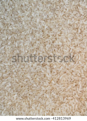 White long rice background, uncooked raw cereals, macro closeup.