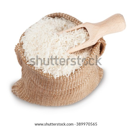 White long rice in small burlap sack with wooden scoop isolated on white top view soft focus - stock photo