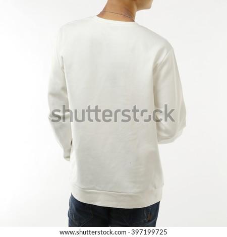 White long-sleeved T-shirt - stock photo