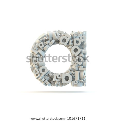 White lowercase letter a isolated on white. Part of high resolution graphical alphabet set. - stock photo