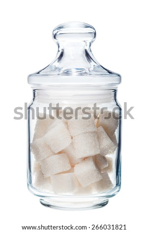 White lump sugar in a glass jar on a white background, sweet sugar in ware with a glass cover, nobody.