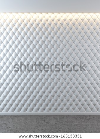 white luxurious interior with leather walls - stock photo