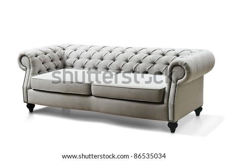 white Luxurious sofa isolated on white background - stock photo