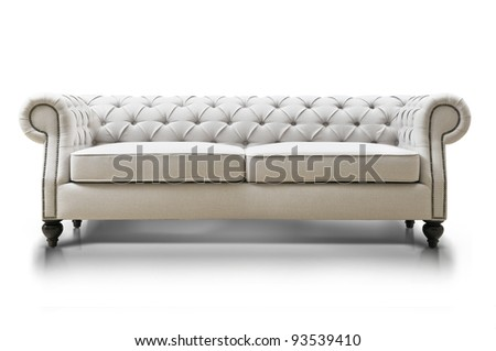 white Luxurious sofa isolated on white background, front view. - stock photo