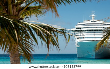 white luxury cruise ship and palm tree - stock photo