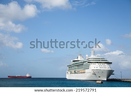 White Luxury Cruise Ship Docked at St Croix - stock photo