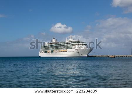 White Luxury Cruise Ship Docked at St Croix - stock photo