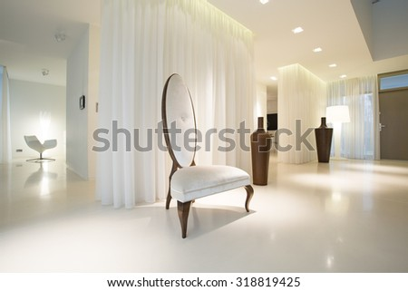 White luxury interior with modern designed furniture - stock photo