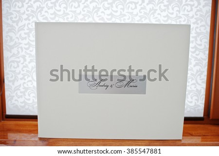 White luxury leather wedding book in box
