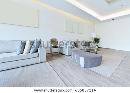 White Luxury Modern Living Interior Decoration Stock Photo Royalty
