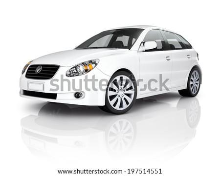 White Luxury Vehicle  - stock photo