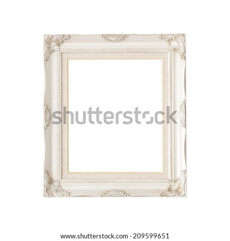 White Luxury Vintage Frame isolated on white background (with clipping path) - stock photo