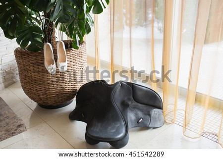 White luxury wedding shoes - stock photo