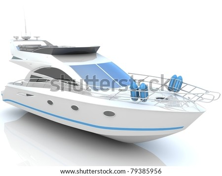 White luxury yacht isolated on a white background - stock photo