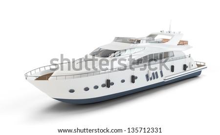 White luxury yacht isolated on white background - stock photo