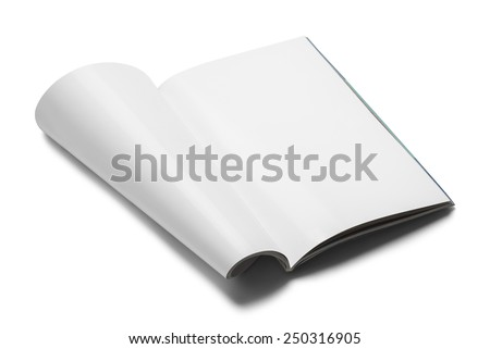 White Magazine with Copy Space Upright Isolated on White Background. - stock photo