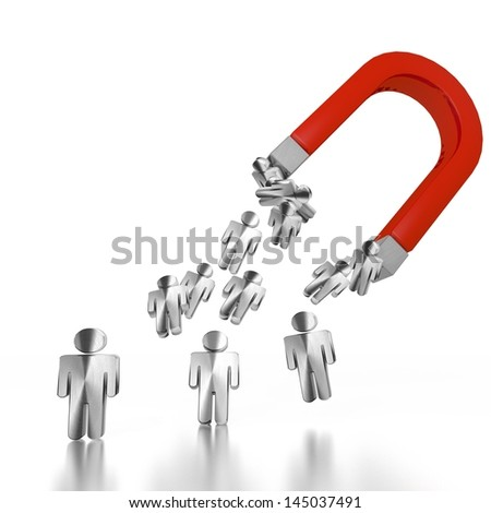 White  magnetic figure 3d graphic with electromagnetic man symbol attracted by an magnet - stock photo