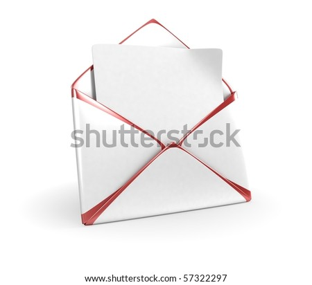 White Mail Envelope With Red Edges - stock photo