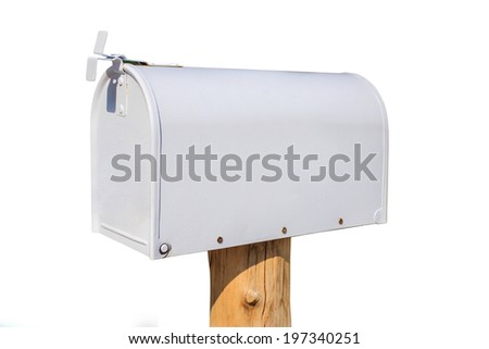 White mailbox on white background - stock photo